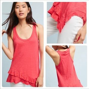 Anthropologie Lennie Ruffled Hem Tank